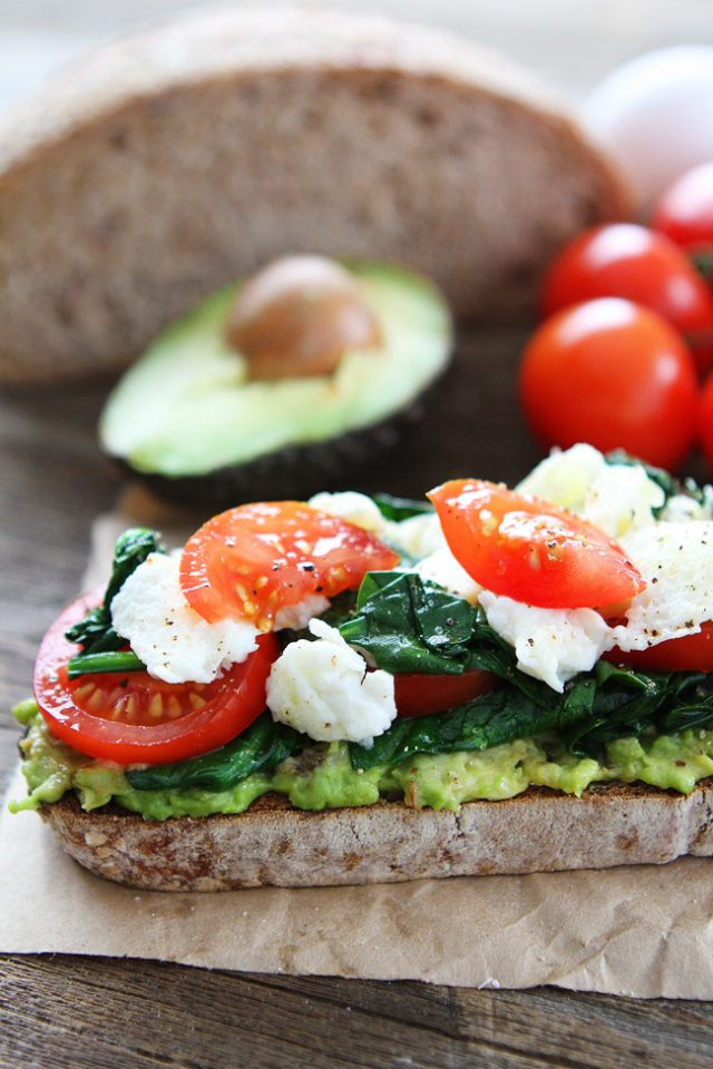Avocado Toast with Scrambled Eggs and Spinach